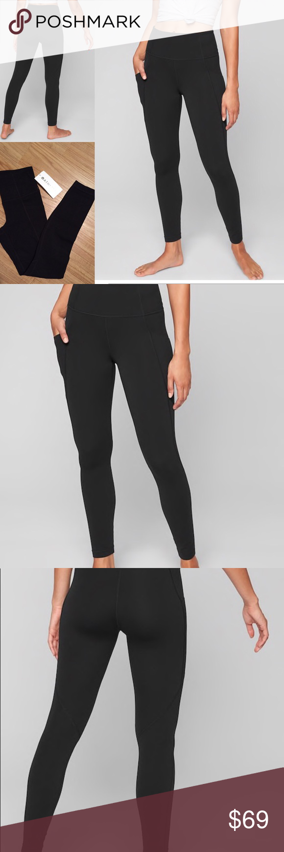 97bbe51c9a5cb Athleta Stash Pocket Salutation Tights PowerVita fabric Wicking, breathable  Side Stash Pockets Fitted, High Rise, Tight leg Fits next to skin, ...