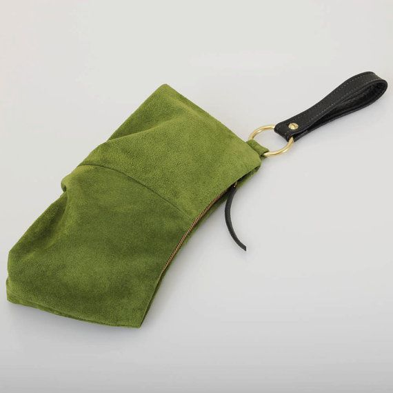 Suede Wristlet  Loden Green by jillydesigns on Etsy, $89.00