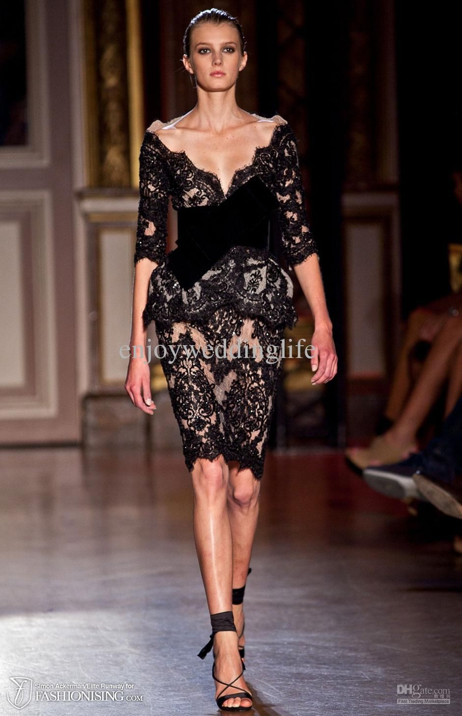 Black lace zuhair murad sexy new long sleeves v online with