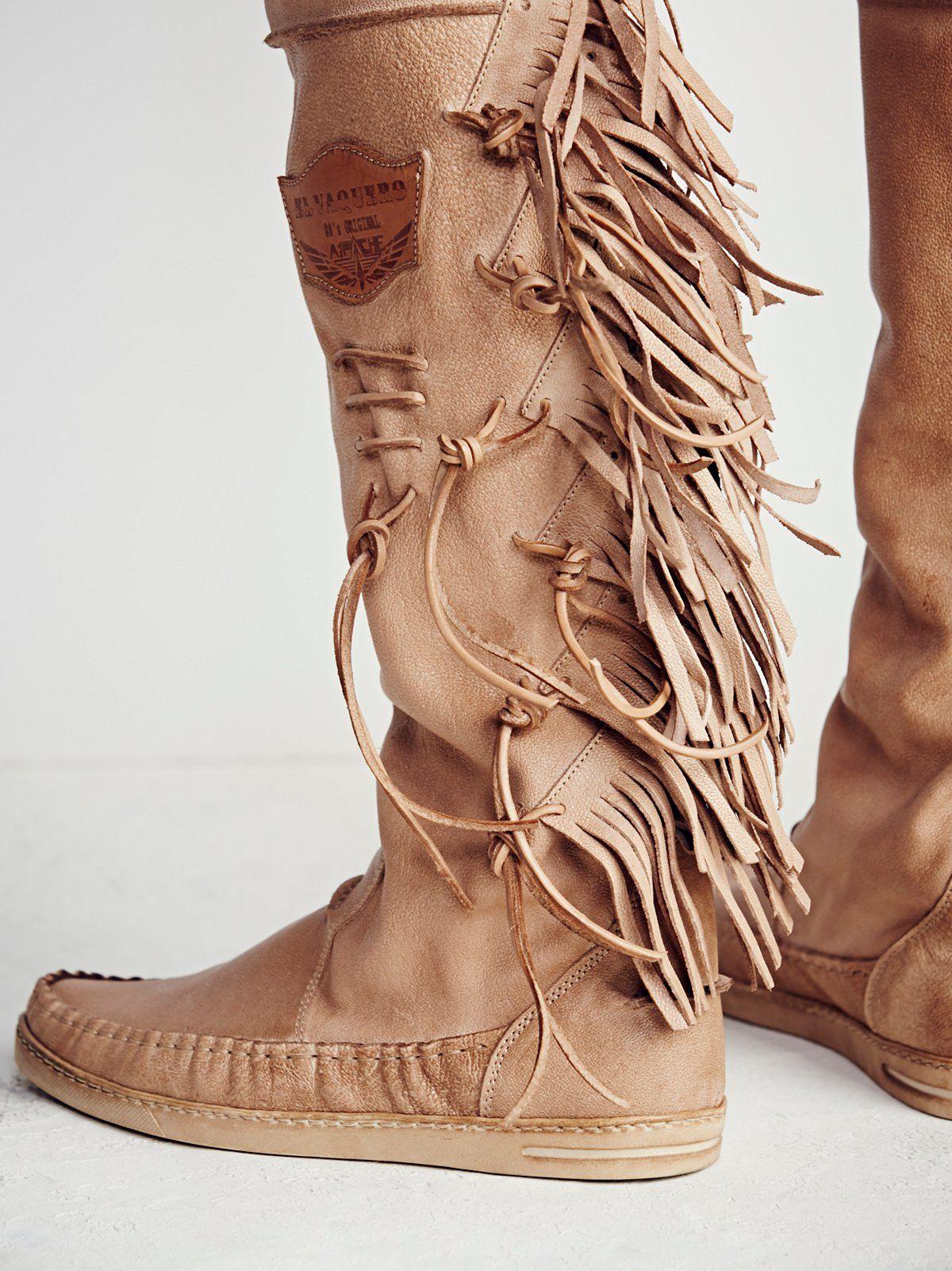 Carpario Tall Moccasin   Boots, Fringe