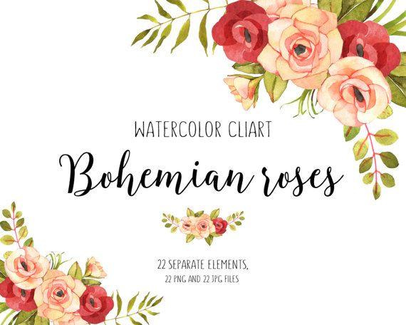 Floral Watercolor Bouquets Bundle Vintage Flower Watercolor Clip