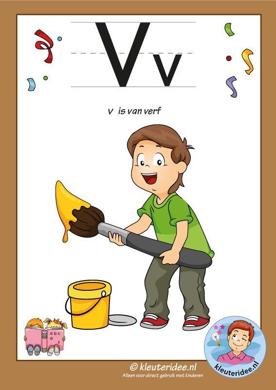 Pakket over de letter v blad 2, letterkaart met een v