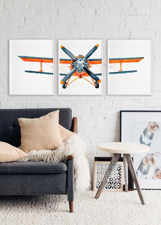 Orange Printable Airplane, Vintage Biplane, Boys room ...