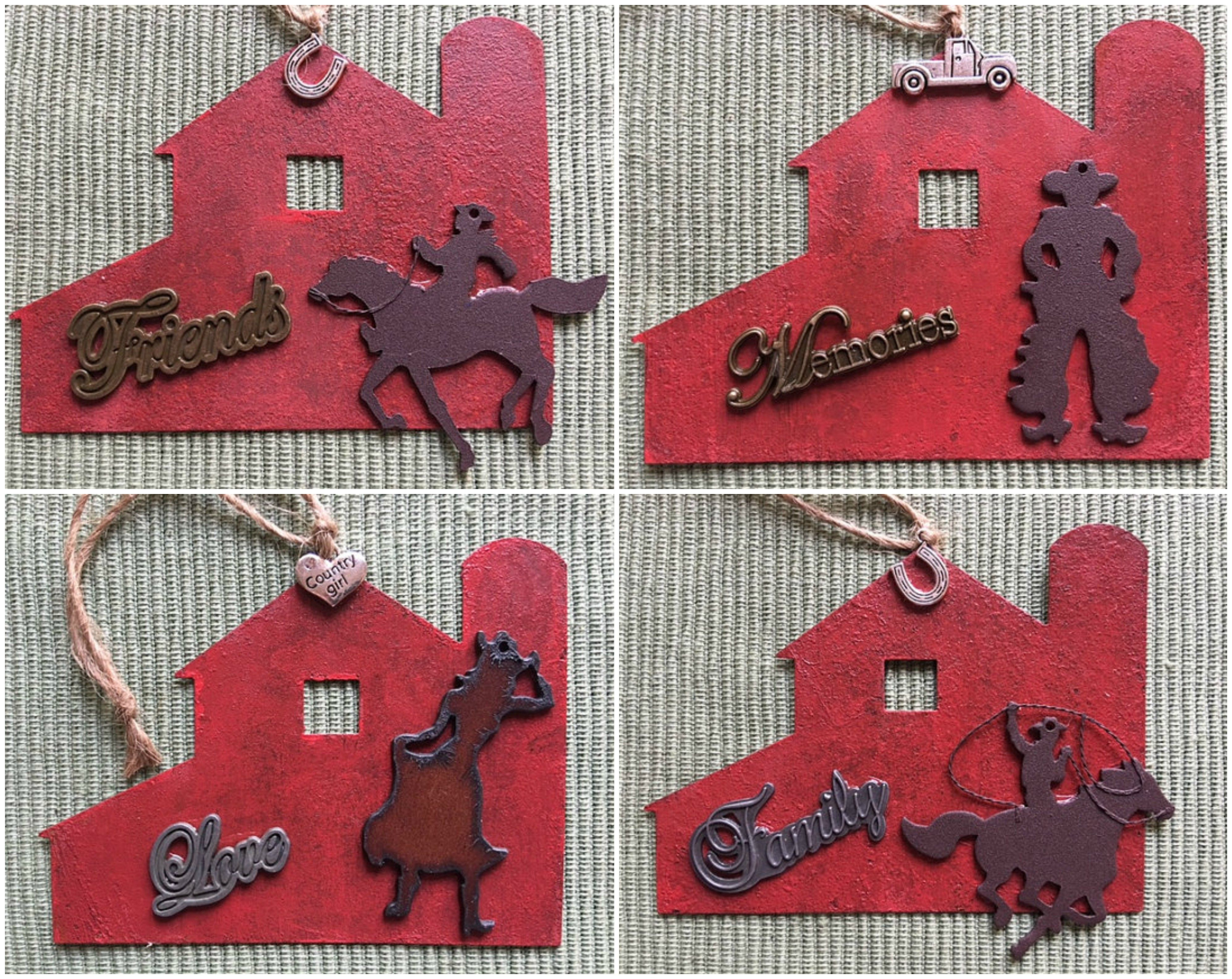 Cowgirl Western Themed Christmas Ornaments Rearview