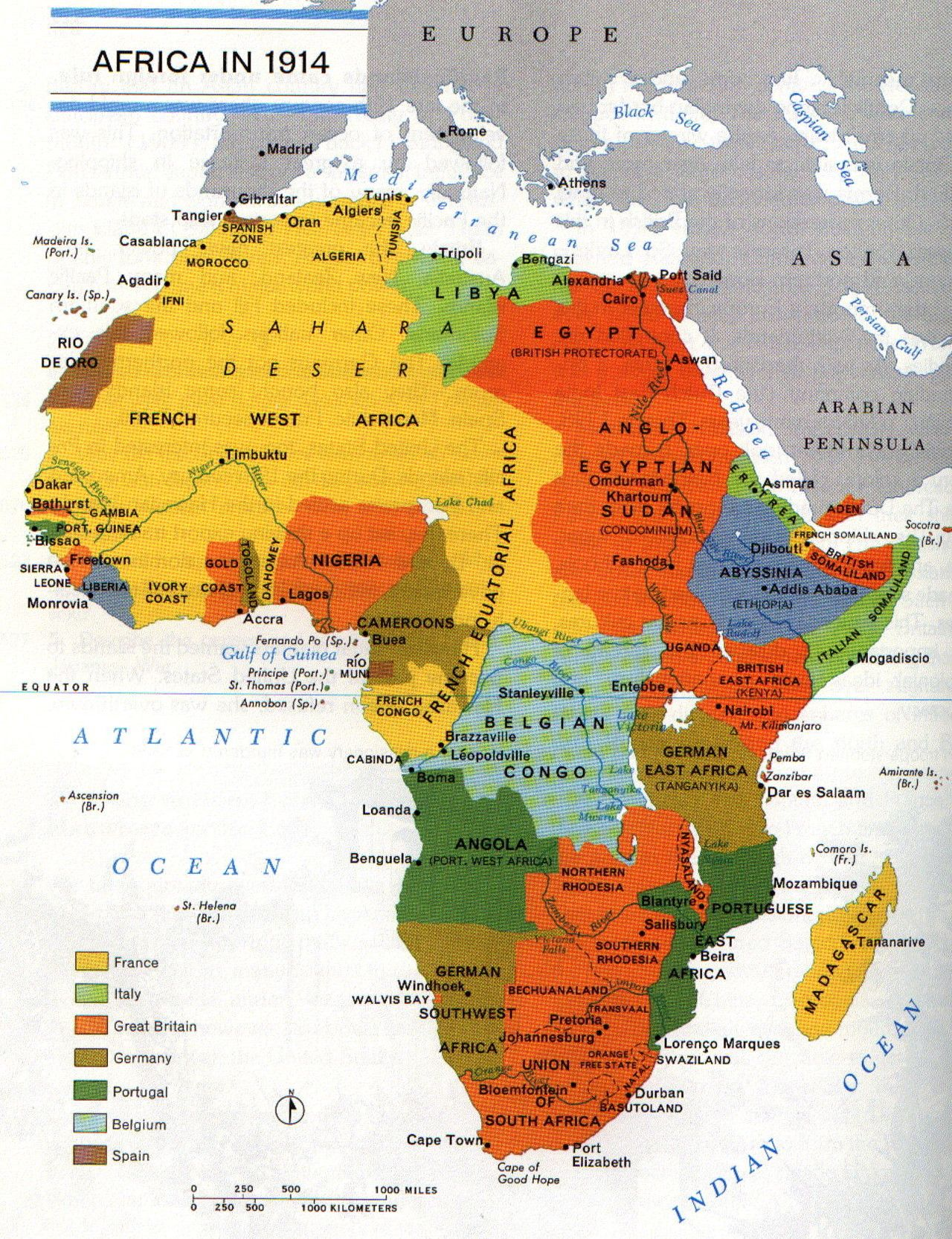 Africa at the dawn of World War I, 1914 | Hist   WWI Misc | Map