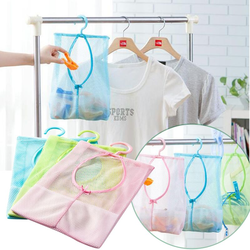 Foldable Hanging Pouch Mesh Sorting Storage Bag Washing Clothes