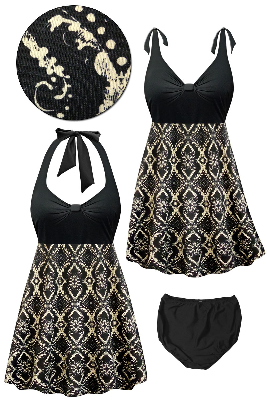Customizable Black & Beige Victorian Print Halter or Shoulder Strap 2pc Plus Size Swimsuit/SwimDress 0x 1x 2x 3x 4x 5x 6x 7x 8x 9x