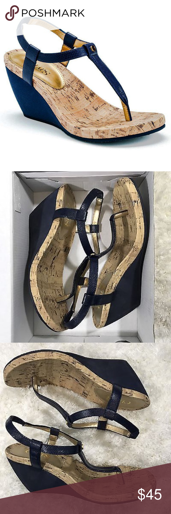 ab29fce9035 CHAPS NAVY BLUE THONG WEDGE SANDALS Hello I m Laura it s lovely to meet  you! Stop by my closet any time if you have any questions! Please follow me  and like ...