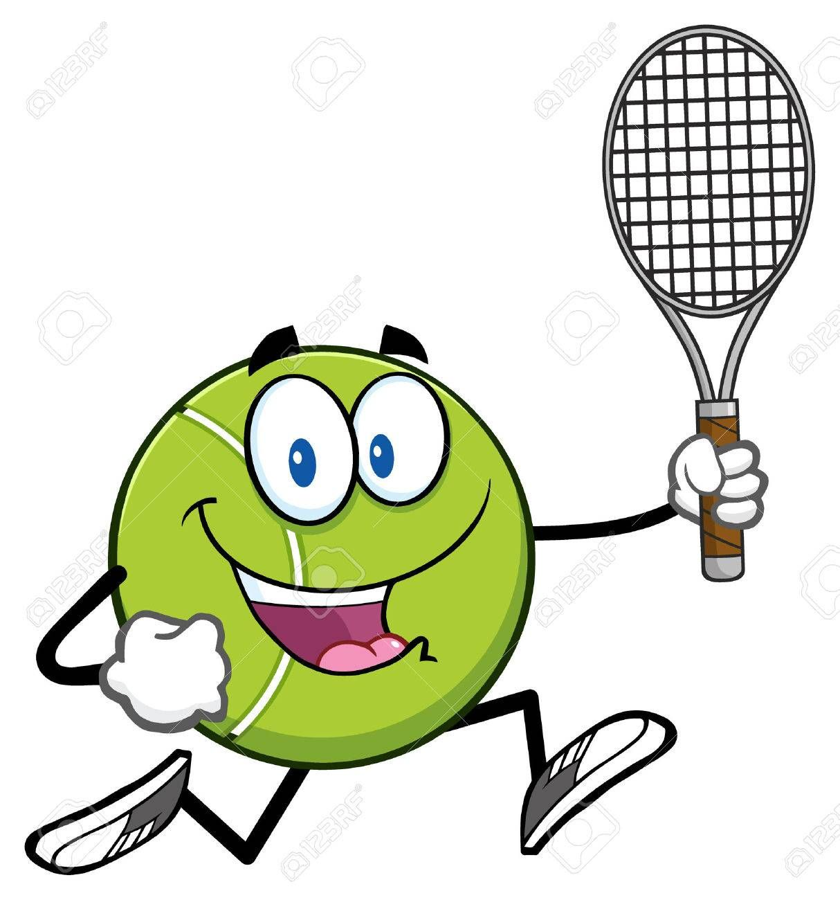 Tennis Ball Cartoon Character Running With Racket Ad Cartoon Ball Tennis Racket Running Tennis Ball Cartoon Characters Cartoon