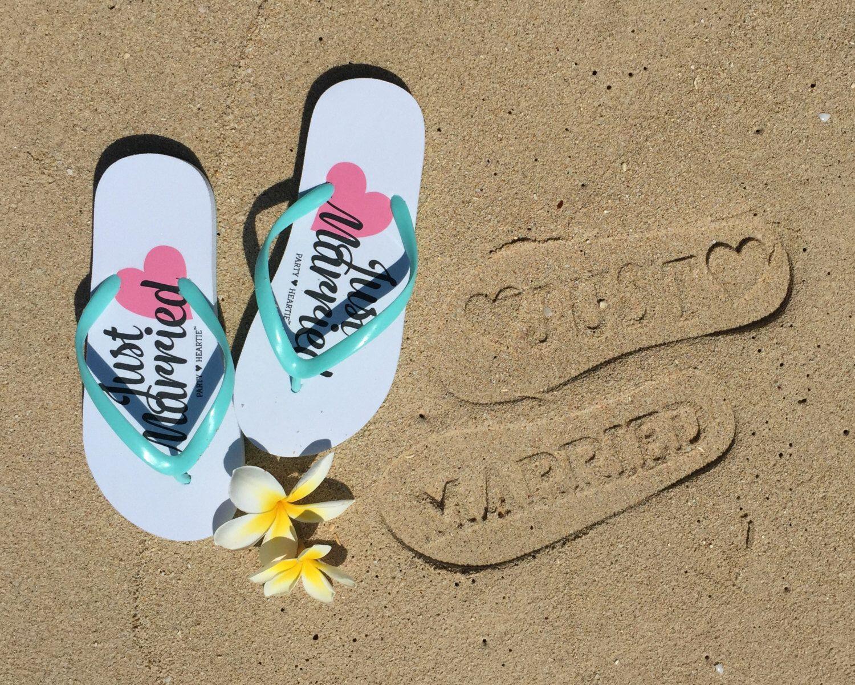 Ready to Ship:  Just Married Imprint Honeymoon / Beach Wedding Flip Flops Slippers Stamp In Sand #beachhoneymoonclothes