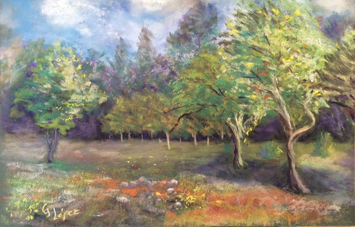 Valdivia Landscape. Pastel Landscape painting on location. Plein Air.