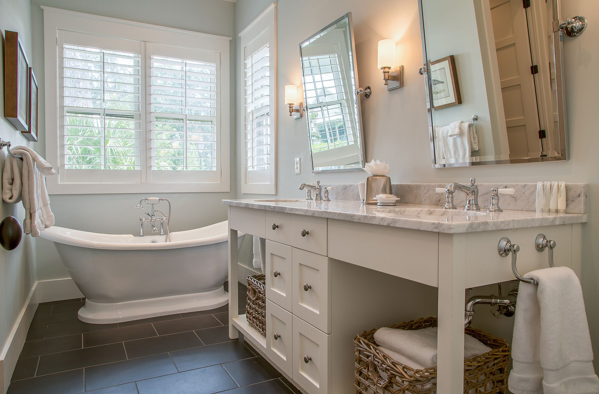 Freestanding Tub - Luxurious White Bathroom - Double Sink Vanity