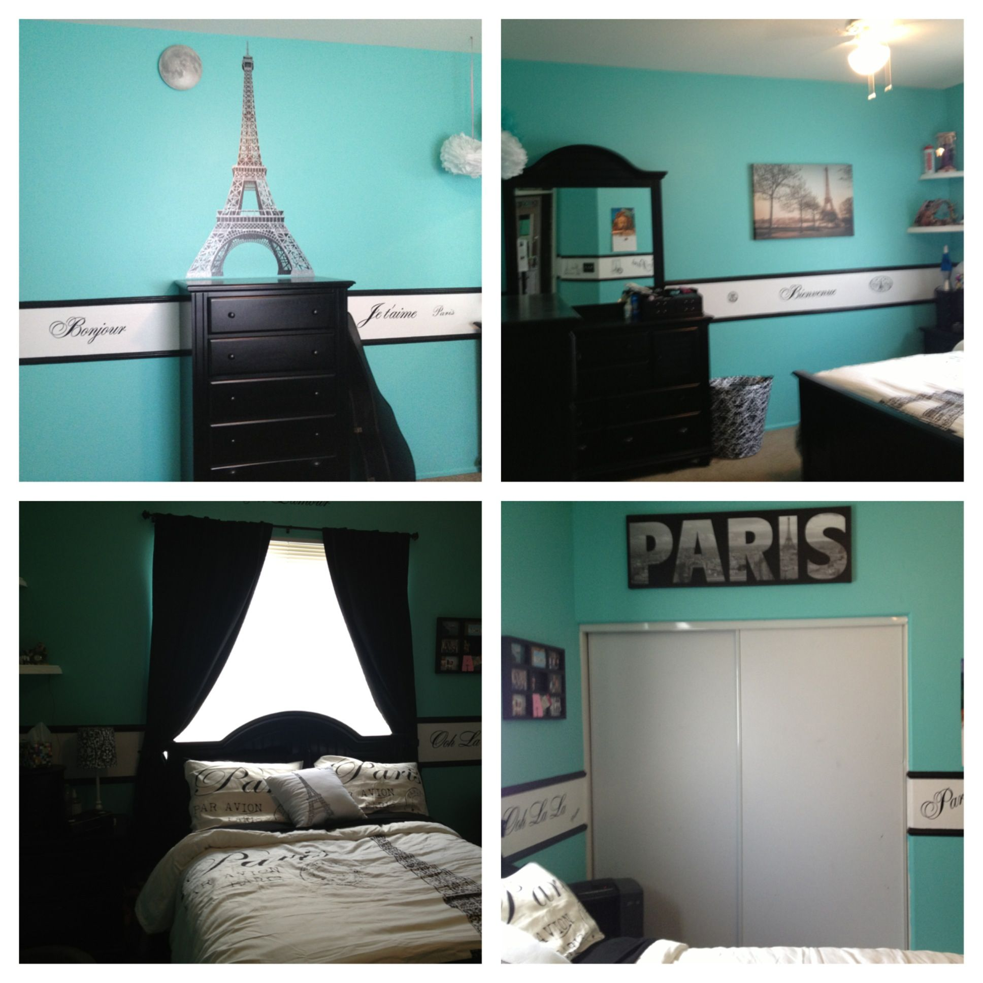 paris theme and tiffany blue bedroom home bedroom decor paris bedroom room decor. Black Bedroom Furniture Sets. Home Design Ideas