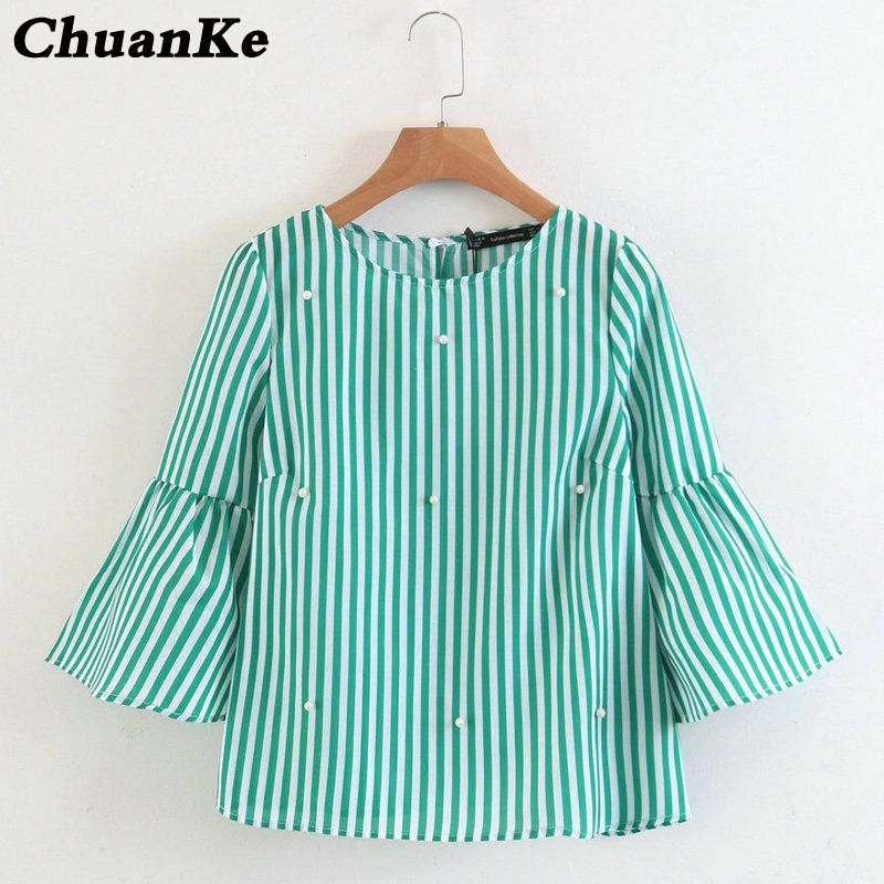427bcee41 comprar 2018 nuevas mujeres elegantes perlas rebordear rayas Flare manga o  cuello Blusas señoras verano marca casual tops Camisetas Tees blusas