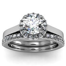 Halo Diamond Engagement Ring with matching Band set in 18k White Gold