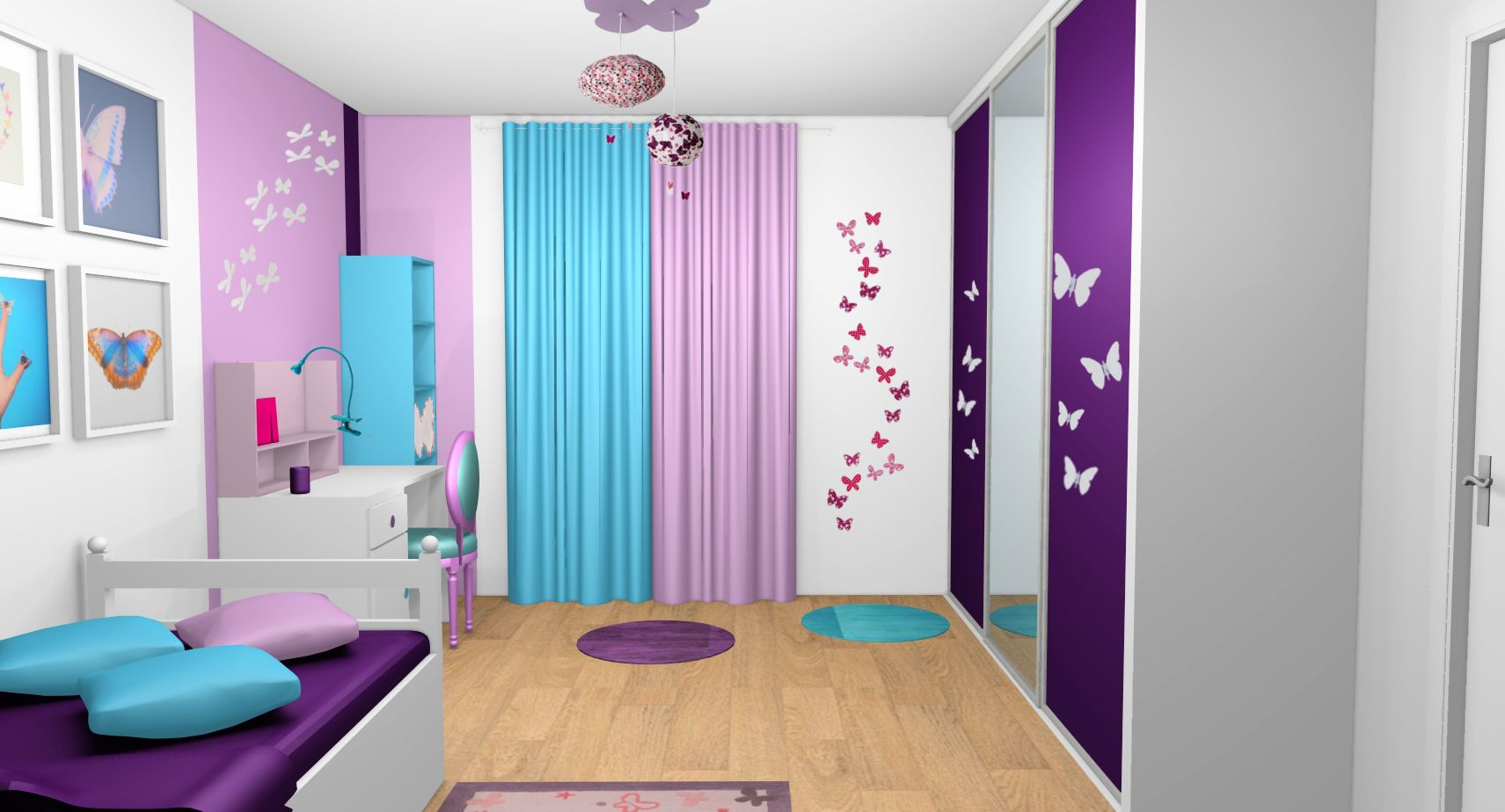 chambre fille violet mauve turquoise papillons bandes. Black Bedroom Furniture Sets. Home Design Ideas