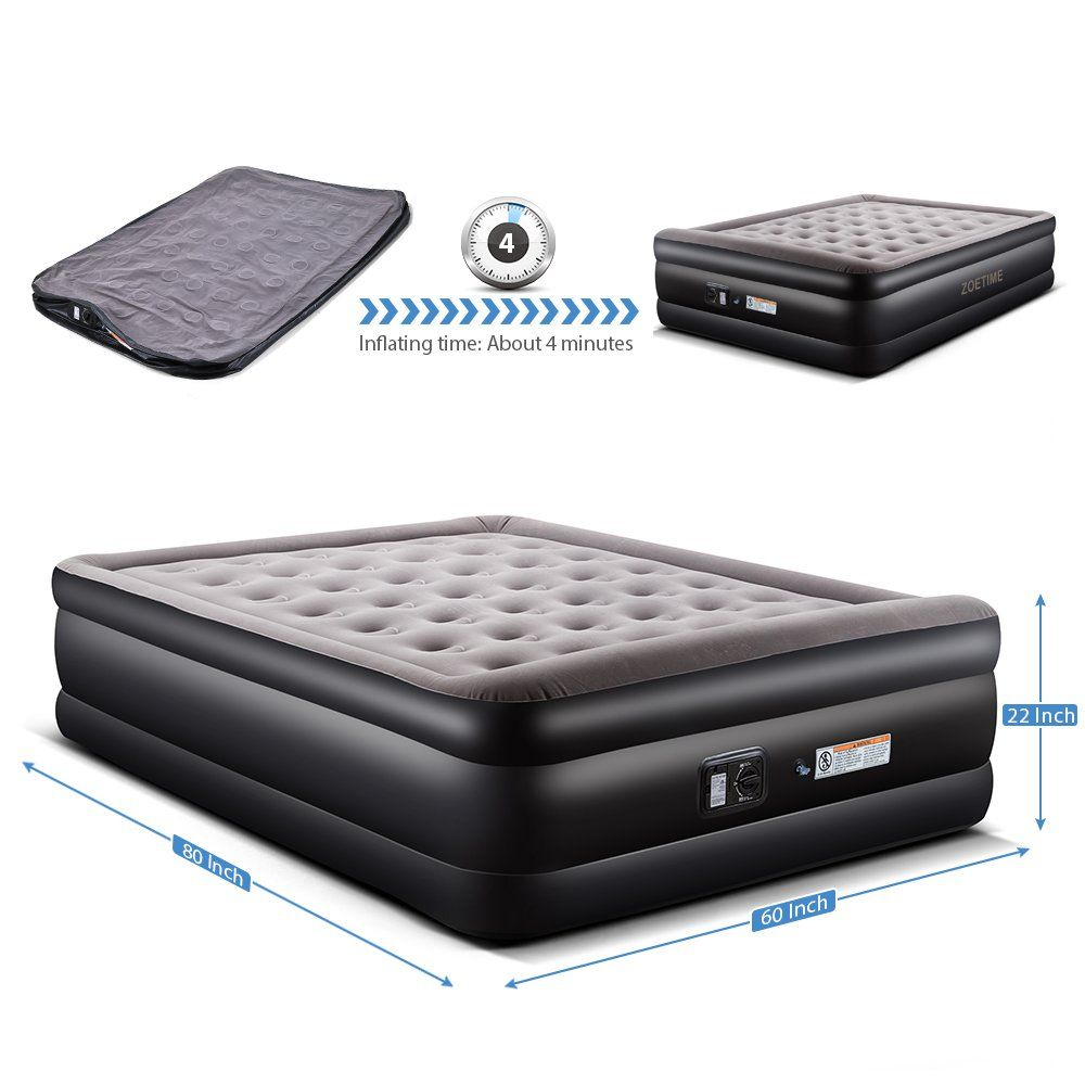 Zoetime Upgraded Queen Size Double Air Mattress Blow Up Elevated Raised Airbed Inflatable Beds With Built In Electric Pump Sto Mattress Inflatable Bed Air Bed