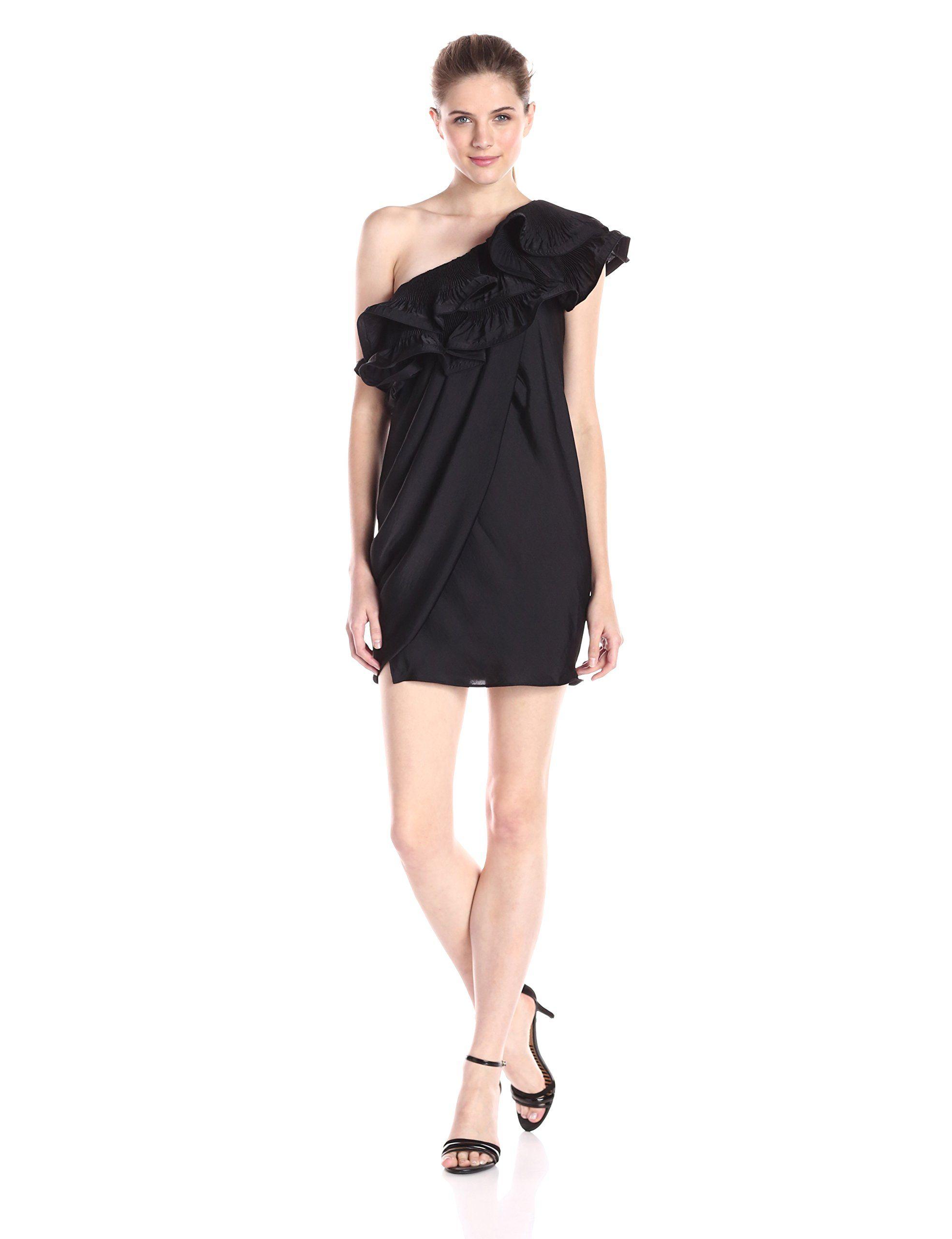 Black one shoulder shift dress