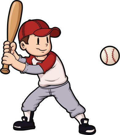Baseball kid. Cartoon boy playing and
