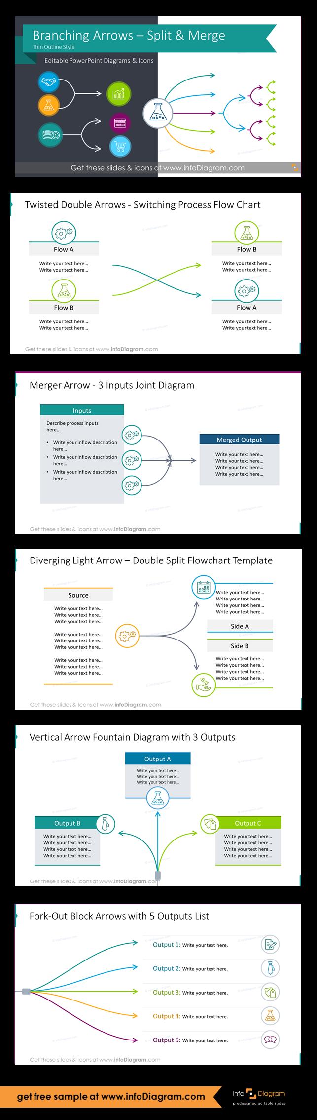 Thin Block Arrows Of Branching Processes Fork Mutliple Split Or Merge Powerpoint Flow Charts Outline Process Flow Process Flow Chart Flow Chart Template