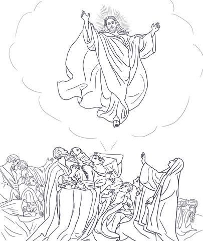 Jesus Ascends To Heaven Coloring Page From Jesus Resurrection