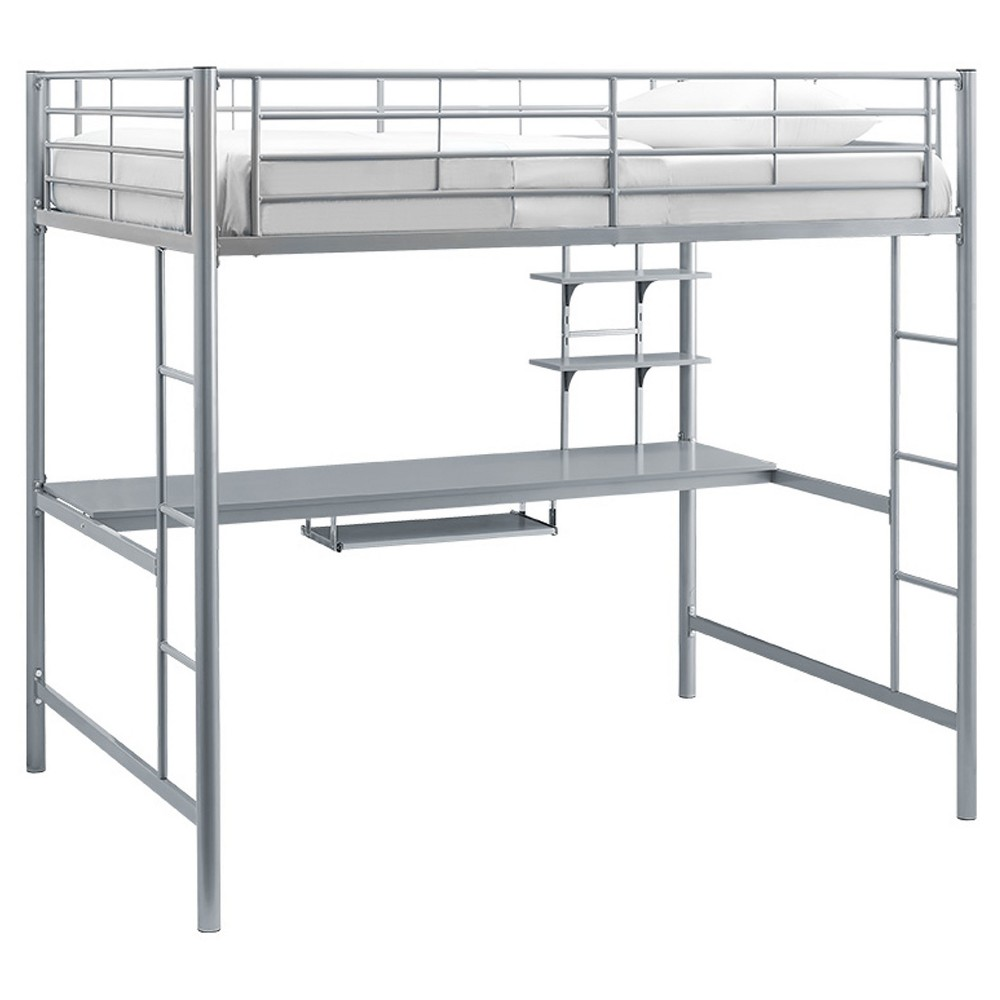 Loft bed with desk full size  Premium Metal Full Size Loft Bed With Wood Workstation  Silver