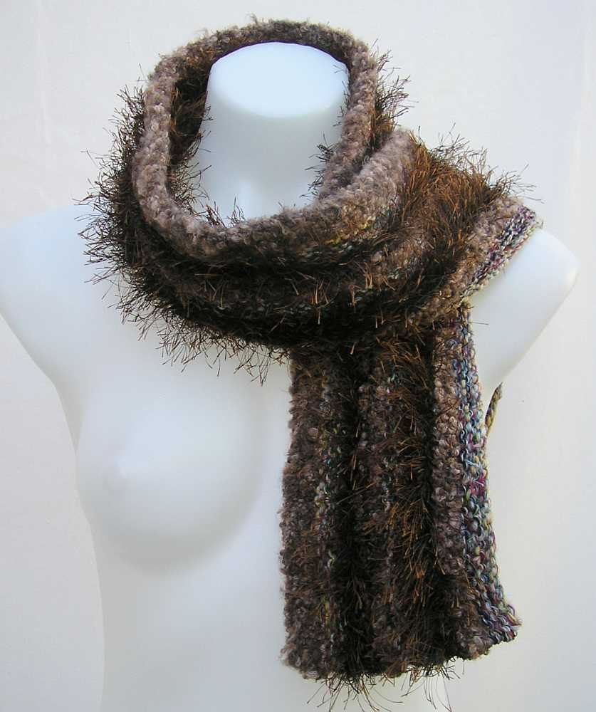 Brown scarf, upcycled scarf, brown knit scarf, reclaimed knitted scarf, upcycled striped scarf, repurposed yarn scarf, recycled yarn scarf by Rethreading on Etsy