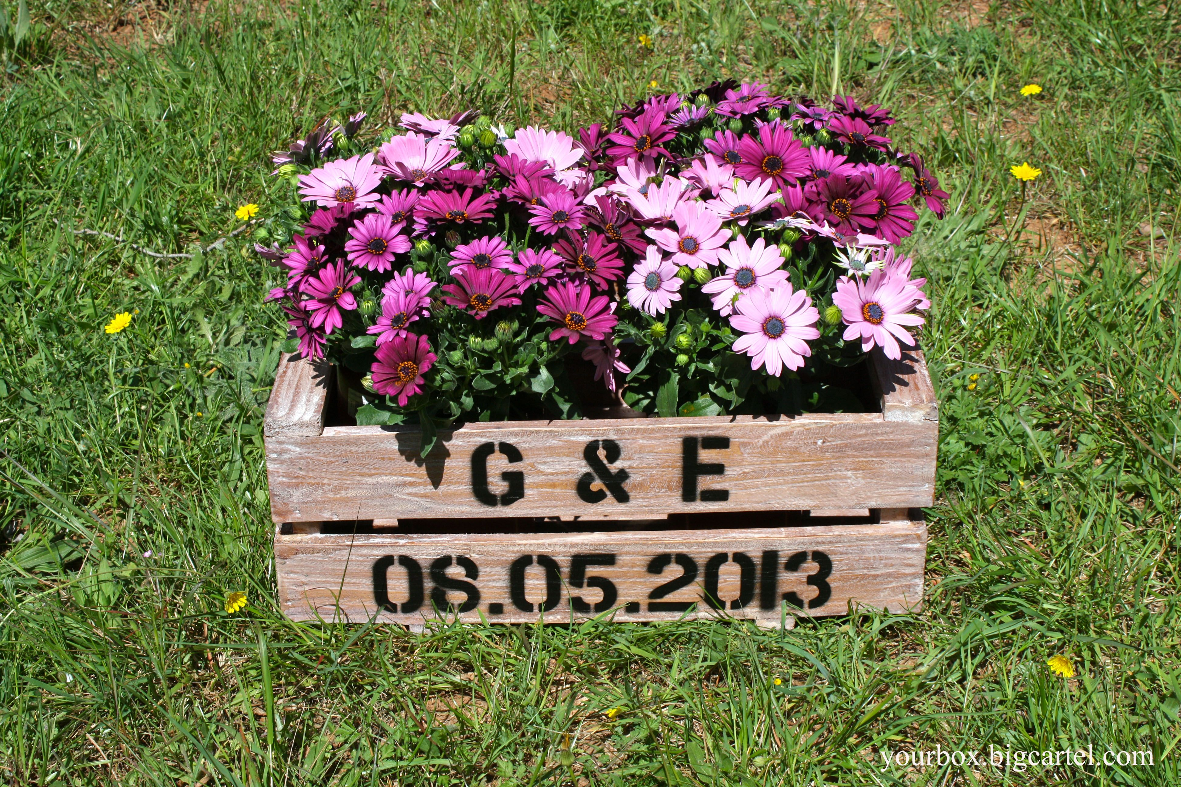 Caja de madera 2 listones estilo for Adornos de jardin