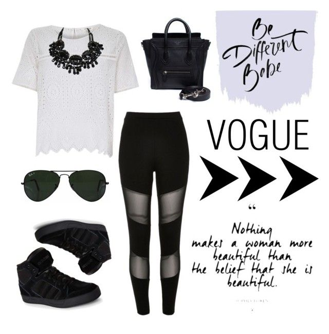 """""""Street Style 2"""" by looklovelearnstyle ❤ liked on Polyvore featuring River Island, adidas, CÉLINE and Ray-Ban"""