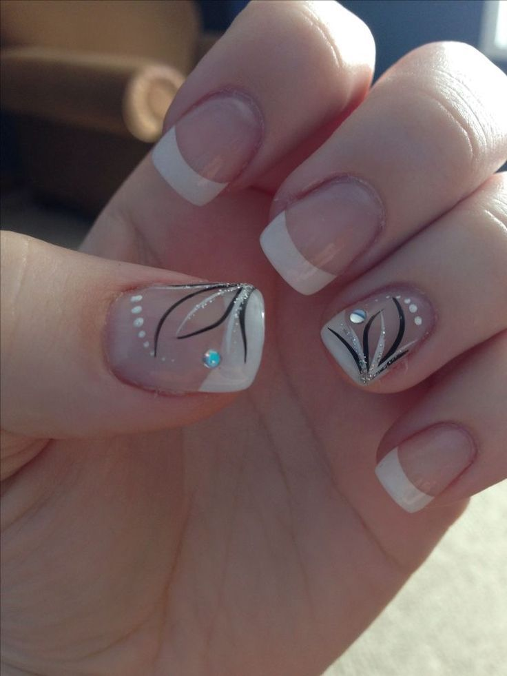 Photo of Wedding nails, french tip with accent nail