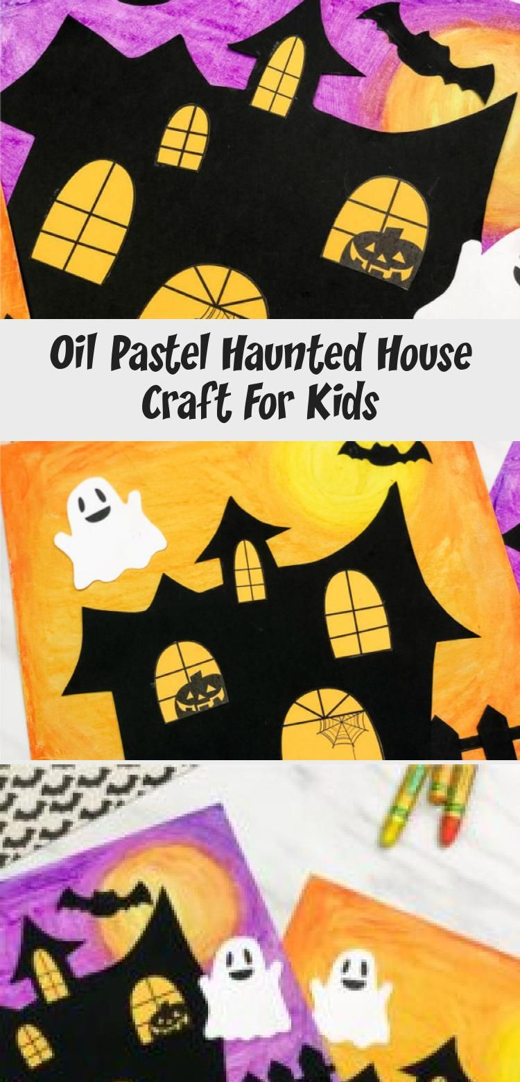 This haunted house art project for kids uses oil pastels