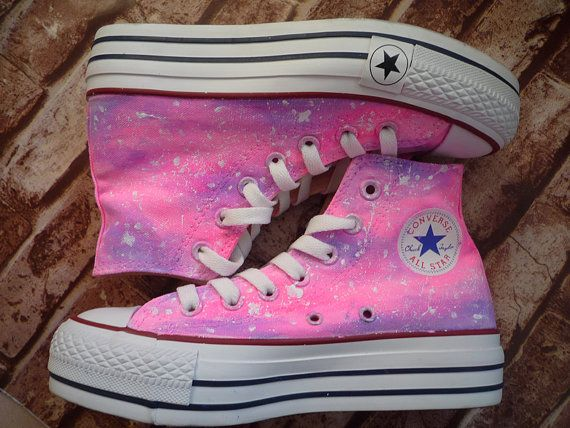 painted shoes converse galaxy  gradient pink  Platform shoes