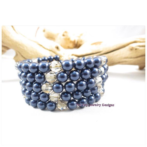 Navy Blue Memory Wire Shell Beaded with by ViaVayJewelryDesigns, $18.00