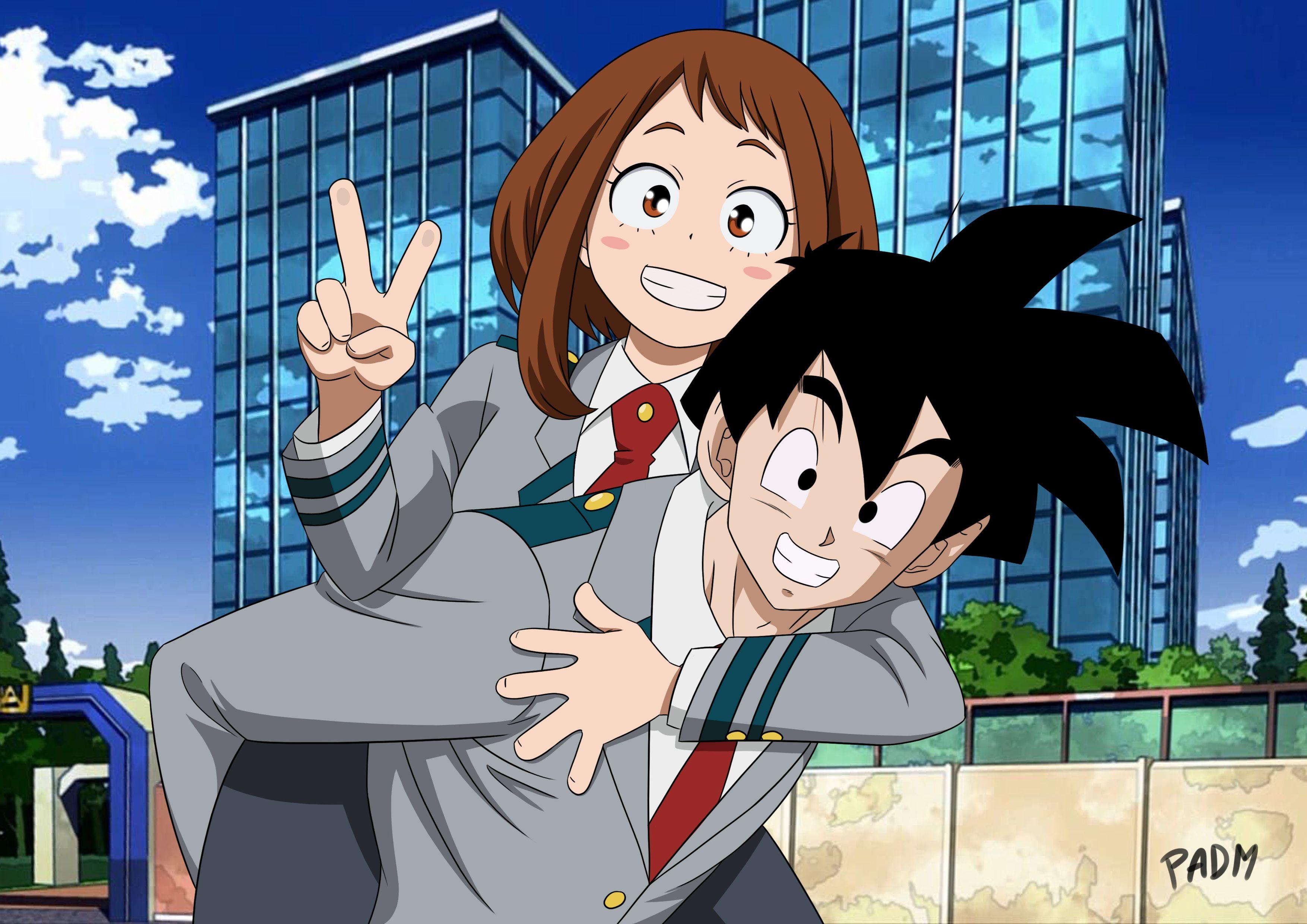 Dbz X Mha Crossover Gohan X Uraraka Anime Crossover Anime Anime Songs