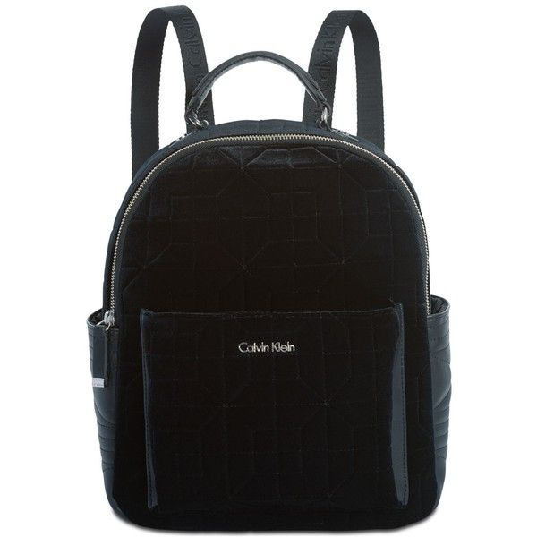 a55603299bd16 Calvin Klein Collaboration Quilted Velvet Backpack ( 134) ❤ liked on  Polyvore featuring bags
