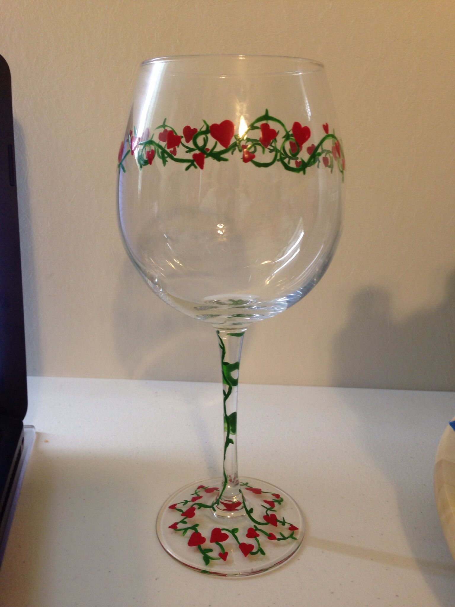 Hearts And Vine Valentines Day Wine Glass Painted By Erika S A