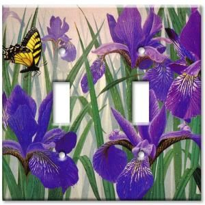 Art Plates Butterfly in Irises - Double Toggle Wall Plate-D-137 at The Home Depot
