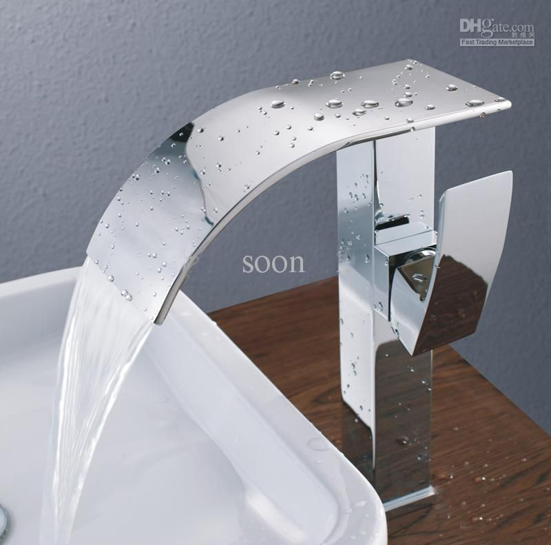 Basin New Modern Chrome Bathroom Tall Faucet Vessel Sink Lavatory Hot Cold Wat