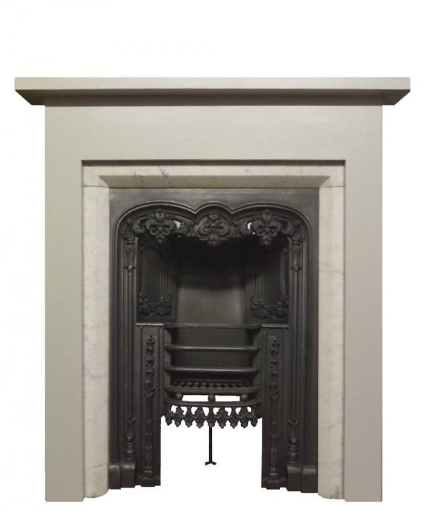 Reproduction Georgian Fireplaces Part - 15: Antique Carrara Marble Slips With A Reproduction Georgian Surround