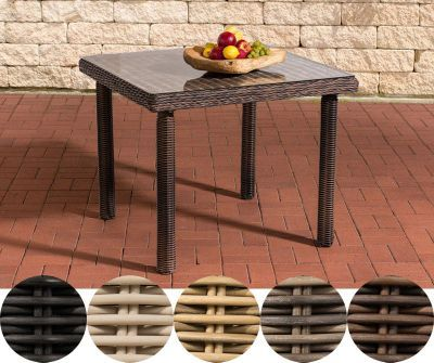 Poly Rattan Garten Tisch PUERTO RICO, Klarglas, Esstisch Quadratisch, ALU  Gestell