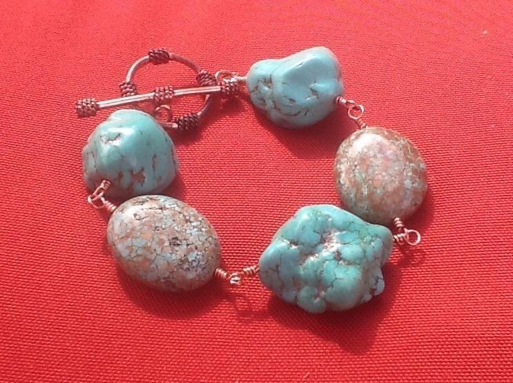 Chunky Funky Turquoise Bracelet - Jewelry creation by Kinga