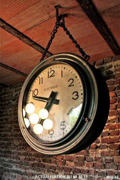 horloge industrielle upcycle ideas industrial horloge. Black Bedroom Furniture Sets. Home Design Ideas