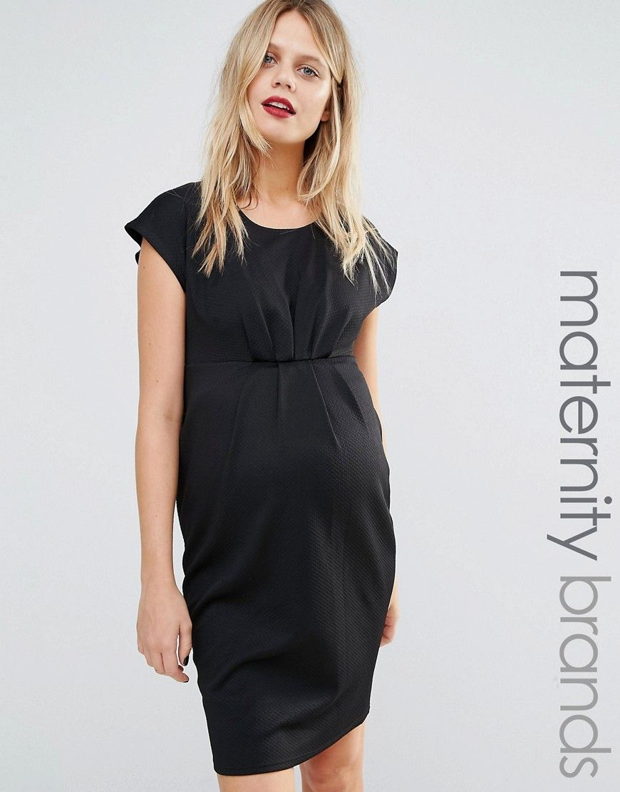 Image 1 of new look maternity pleat front pencil dress maternity image 1 of new look maternity pleat front pencil dress ombrellifo Images