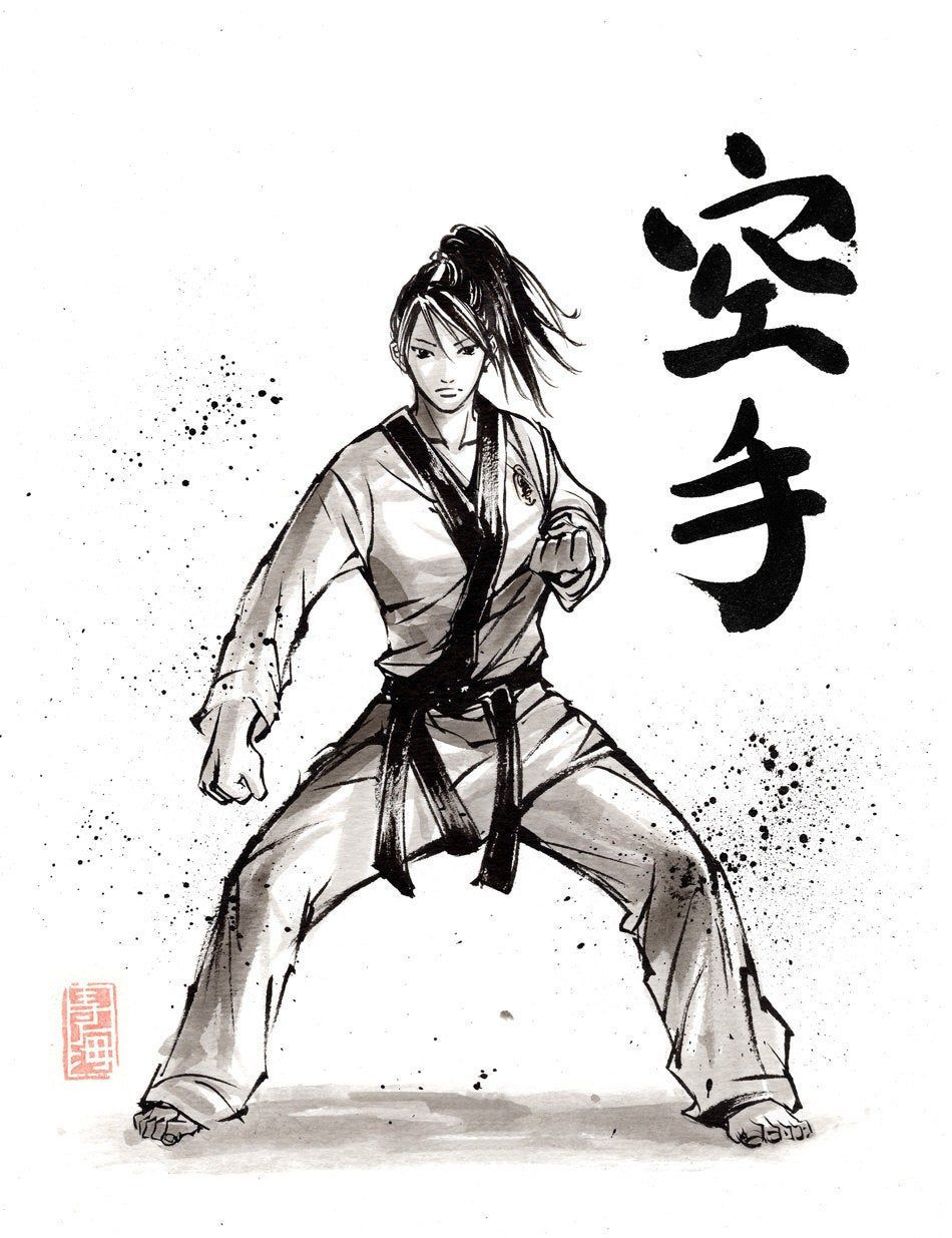 Print Karate Girl Japanese Calligraphy And Painting By Mycks In 2021 Martial Arts Techniques Karate Martial Arts Martial Arts Girl