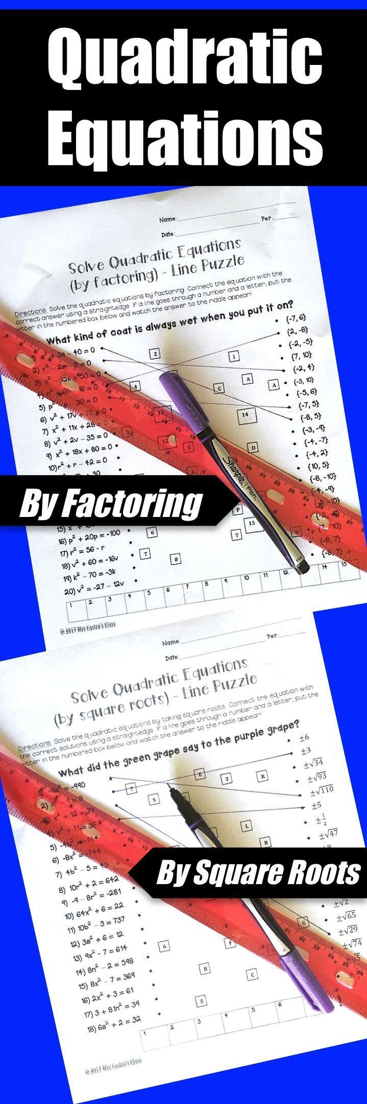 Algebra 1 Line Puzzles Activity Bundle Algebra, Solving