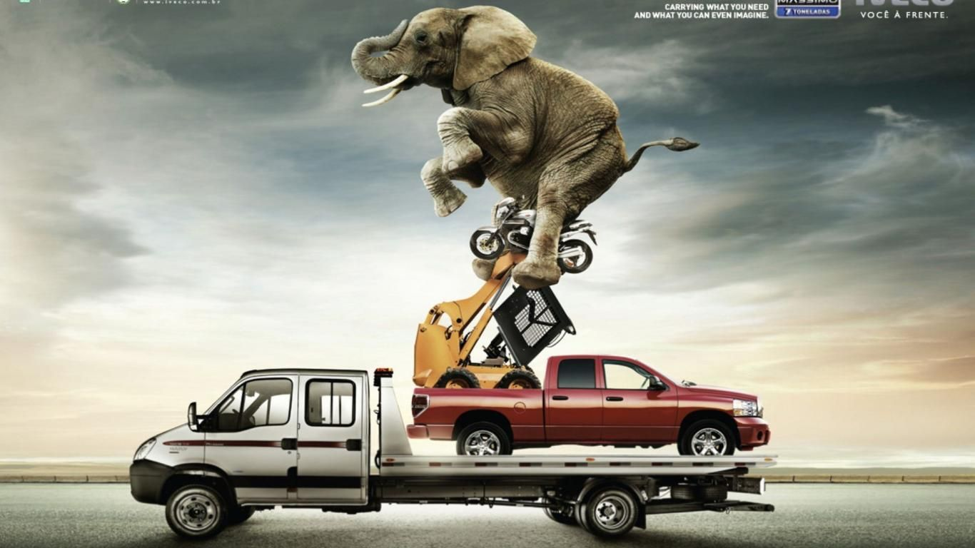 lustig ads iveco autos hintergr nde 1366x768 i was browsing and found this photo manipulated advertisement i love it i love photo manipulation so i found more enjoy if you would like to see