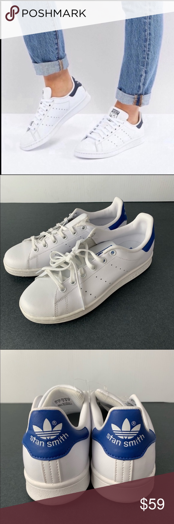 ????Adidas Stan Smith Originals Blue White Sneakers NWT (With