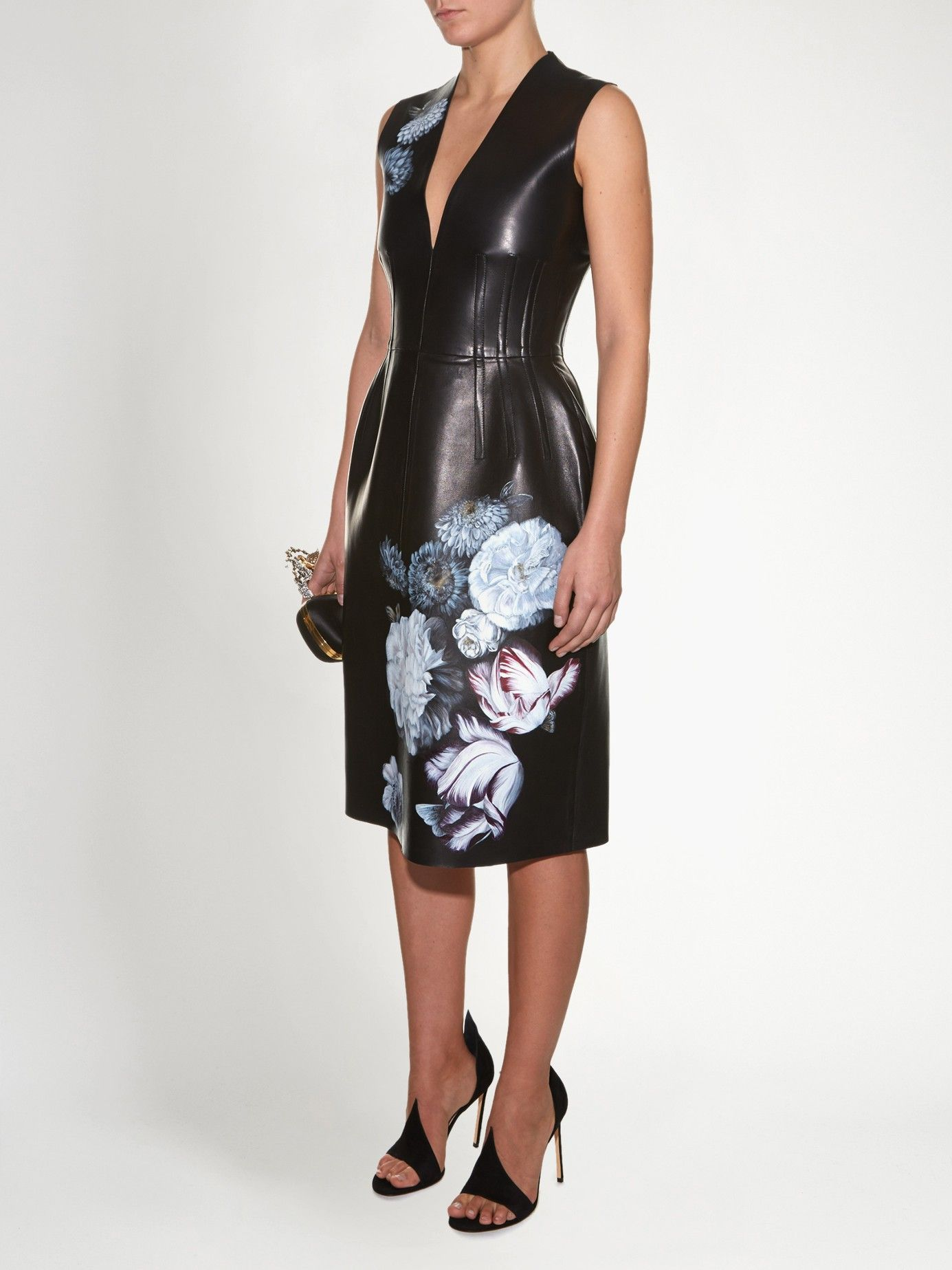 d5453978a0 Hand-painted flowers leather dress | Alexander McQueen | MATCHESFASHION.COM  US