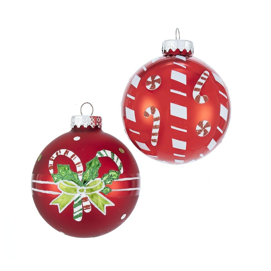Kurt Adler Candy Cane Ball Christmas Ornament 6 Piece Set Glass Ball Ornaments Christmas Ornament Sets Christmas Ornaments