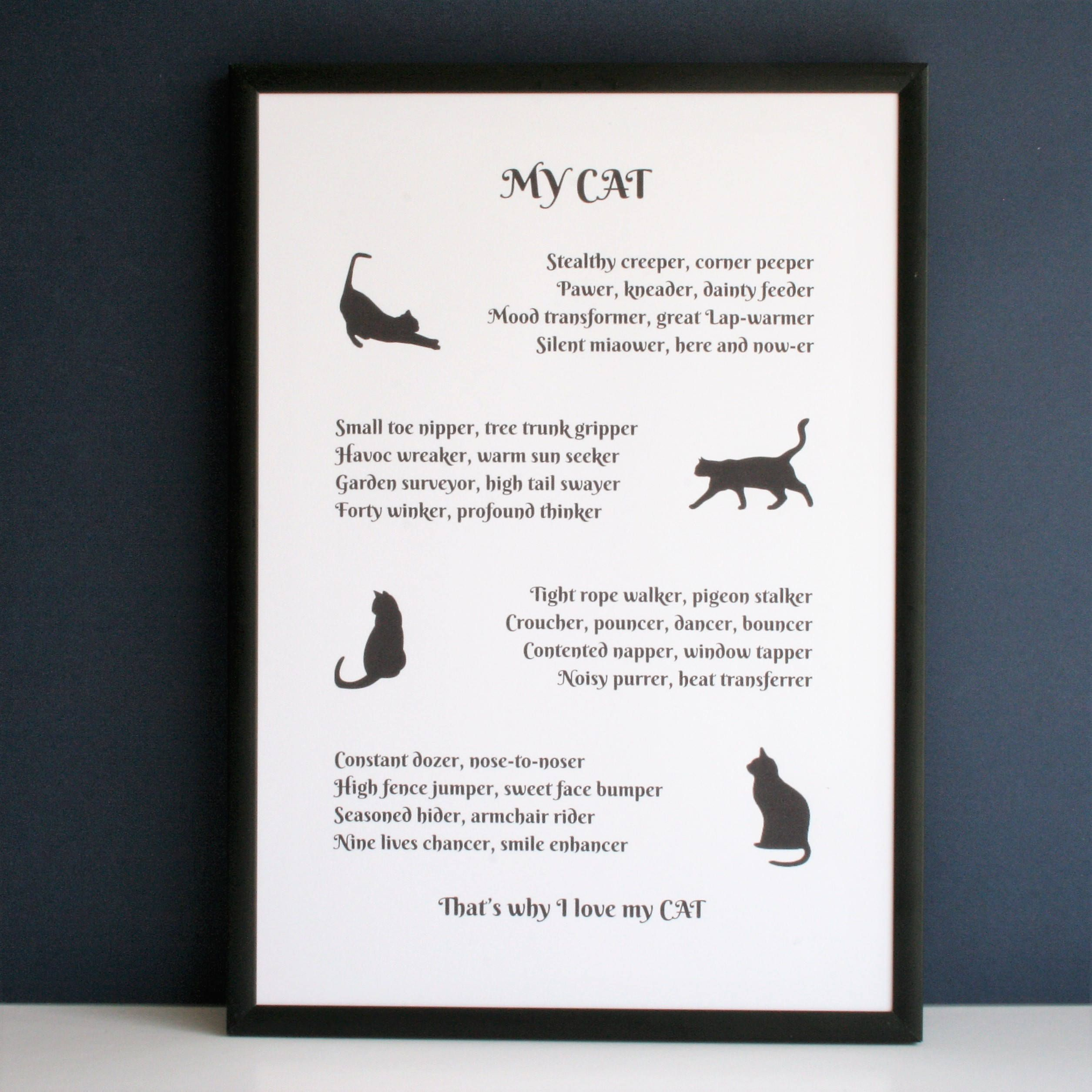 Cat Poem Cat Lover Poem Gift For Cat Lover Personalised Cat Poem By Designerpoems On Etsy Cat Poems Cat Gifts Animal Poems